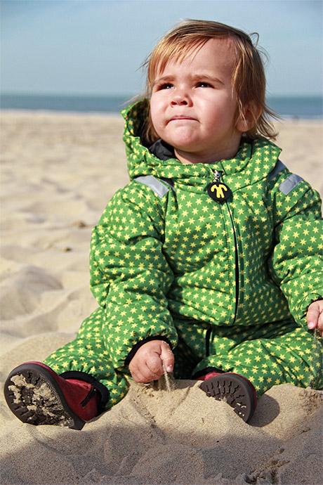 zimowy kombinezon ocieplany dla dzieci Ducksday wzór FUNKY GREEN