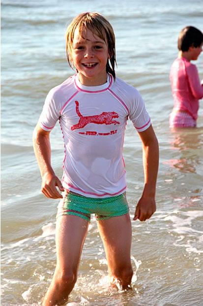 kąpielówki dla chłopca i dziewczynki, koszulki plażowe dla dzieci od Ducksday