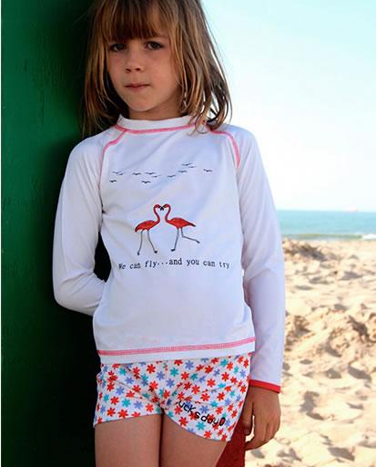 piękna koszulka z długim rękawem na lato dla dziewczynki z filtrem UV Rit i kąpielówki Lilly