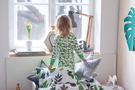piżamki z długim rękawem dla dziewczynki, zielona, czerwona, biała, w palmy